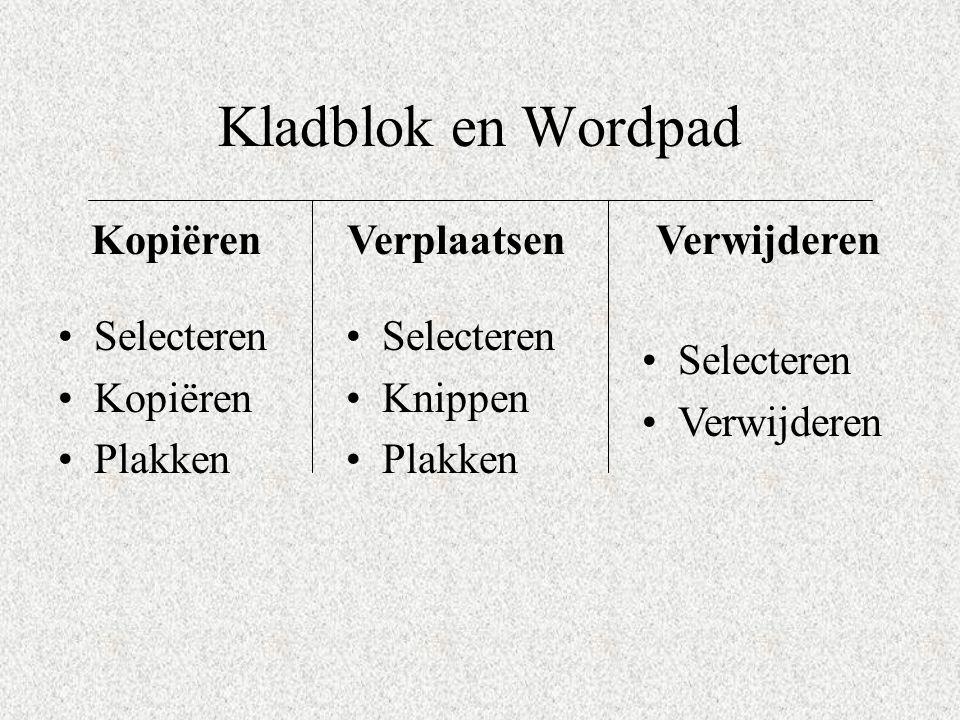 Kladblok en Wordpad Kopiëren Verplaatsen Verwijderen Selecteren