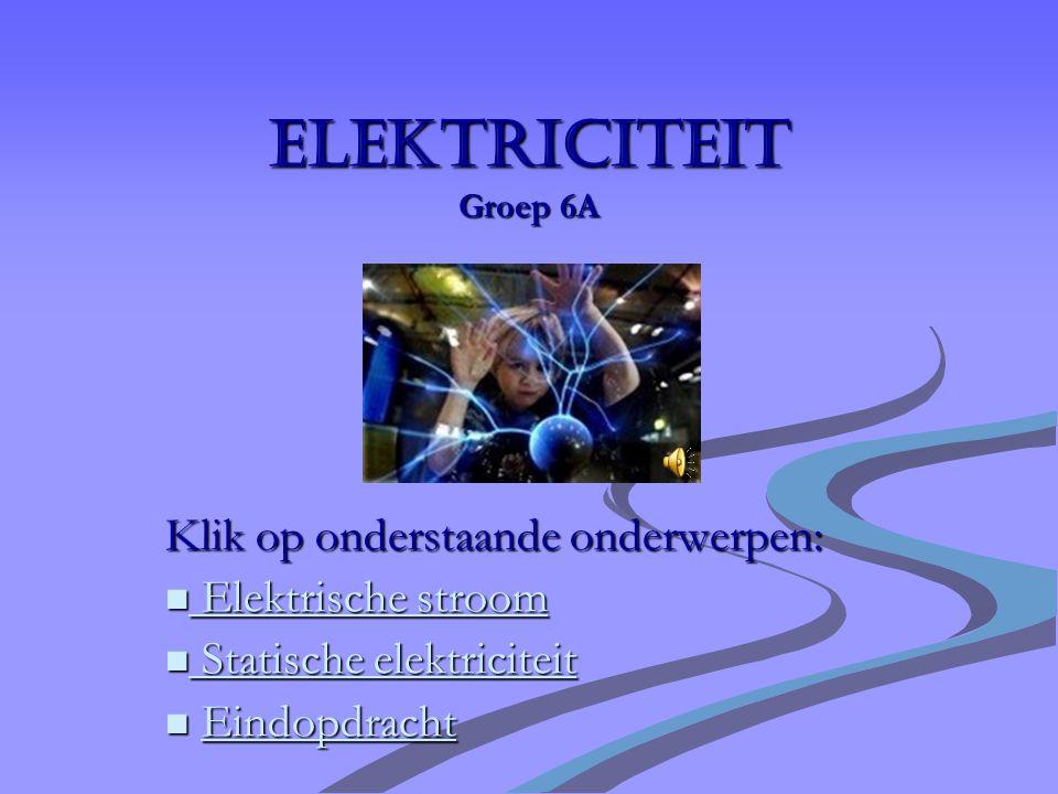 Elektriciteit Groep 6A Klik op onderstaande onderwerpen: