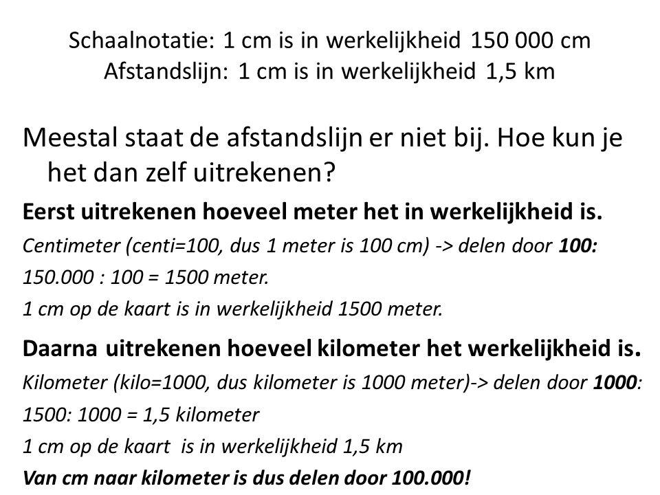 Schaalnotatie: 1 cm is in werkelijkheid 150 000 cm Afstandslijn: 1 cm is in werkelijkheid 1,5 km