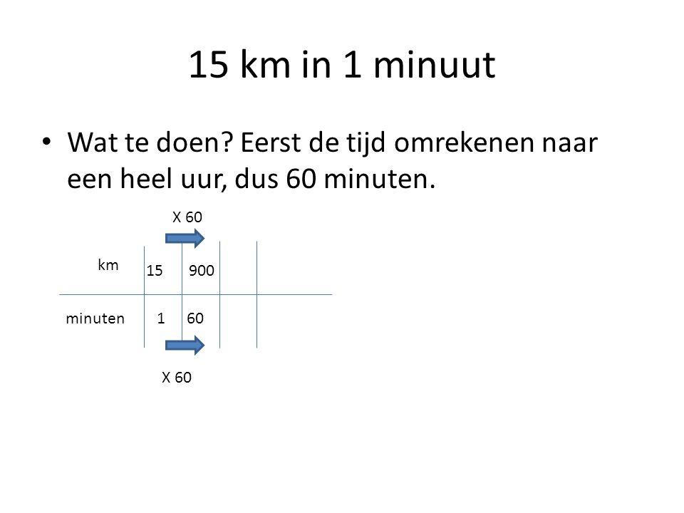 15 km in 1 minuut Wat te doen Eerst de tijd omrekenen naar een heel uur, dus 60 minuten. X 60. km.