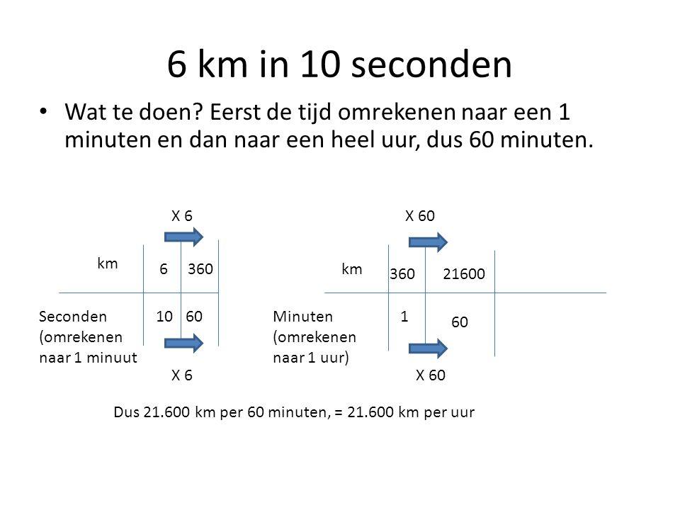 6 km in 10 seconden Wat te doen Eerst de tijd omrekenen naar een 1 minuten en dan naar een heel uur, dus 60 minuten.