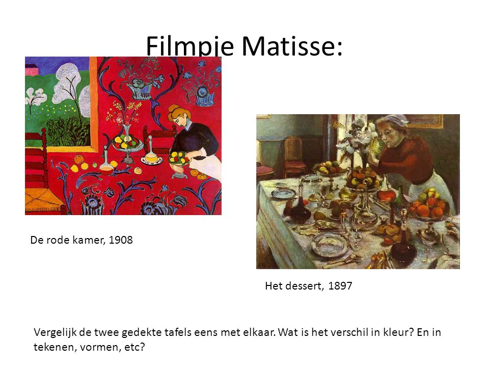 Filmpje Matisse: De rode kamer, 1908 Het dessert, 1897