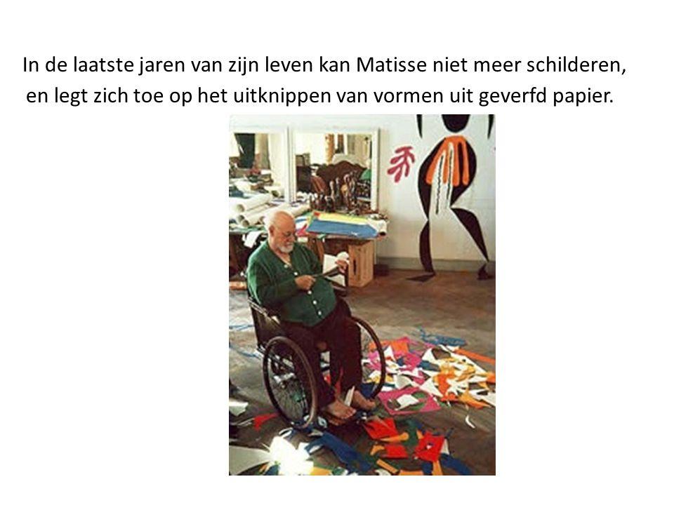 In de laatste jaren van zijn leven kan Matisse niet meer schilderen, en legt zich toe op het uitknippen van vormen uit geverfd papier.