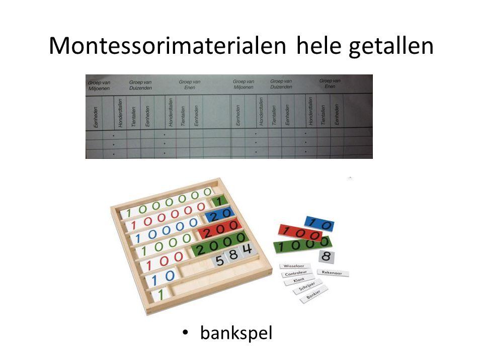 Montessorimaterialen hele getallen