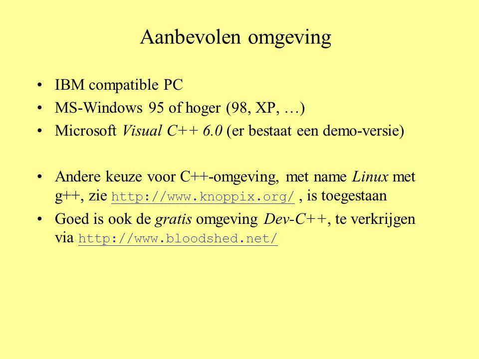 Aanbevolen omgeving IBM compatible PC