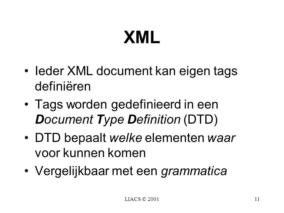 XML Ieder XML document kan eigen tags definiëren