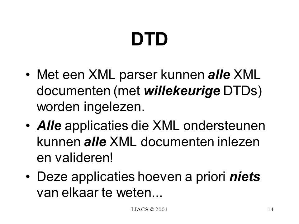 DTD Met een XML parser kunnen alle XML documenten (met willekeurige DTDs) worden ingelezen.