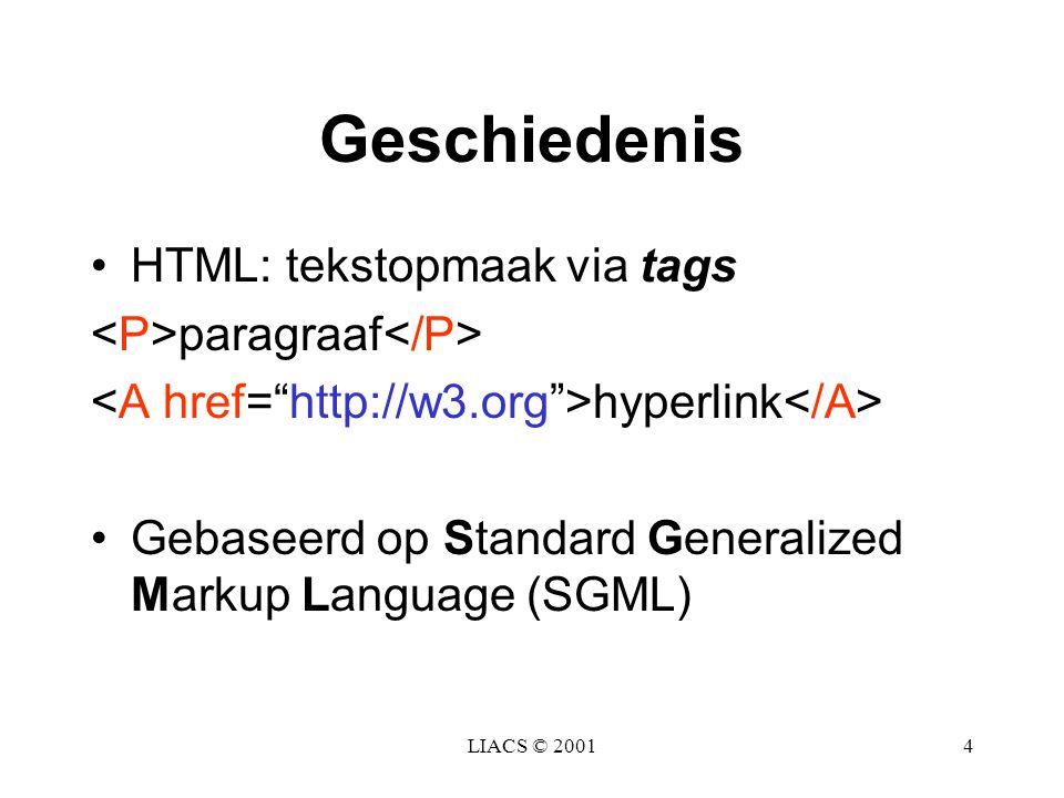 Geschiedenis HTML: tekstopmaak via tags <P>paragraaf</P>