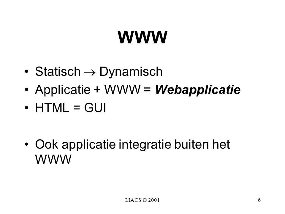 WWW Statisch  Dynamisch Applicatie + WWW = Webapplicatie HTML = GUI