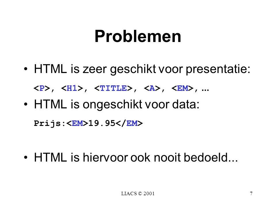 Problemen HTML is zeer geschikt voor presentatie: