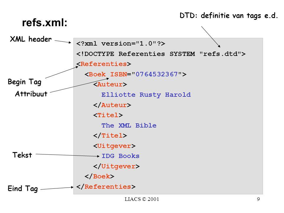 refs.xml: DTD: definitie van tags e.d. XML header