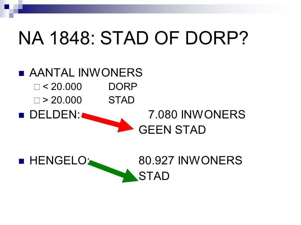 NA 1848: STAD OF DORP AANTAL INWONERS DELDEN: 7.080 INWONERS