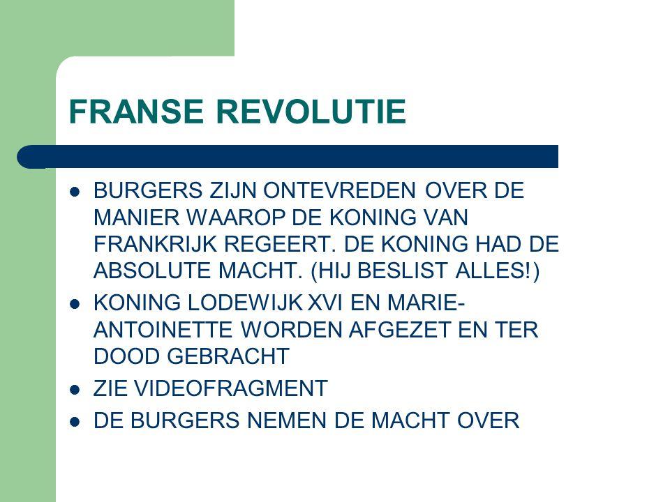 FRANSE REVOLUTIE BURGERS ZIJN ONTEVREDEN OVER DE MANIER WAAROP DE KONING VAN FRANKRIJK REGEERT. DE KONING HAD DE ABSOLUTE MACHT. (HIJ BESLIST ALLES!)