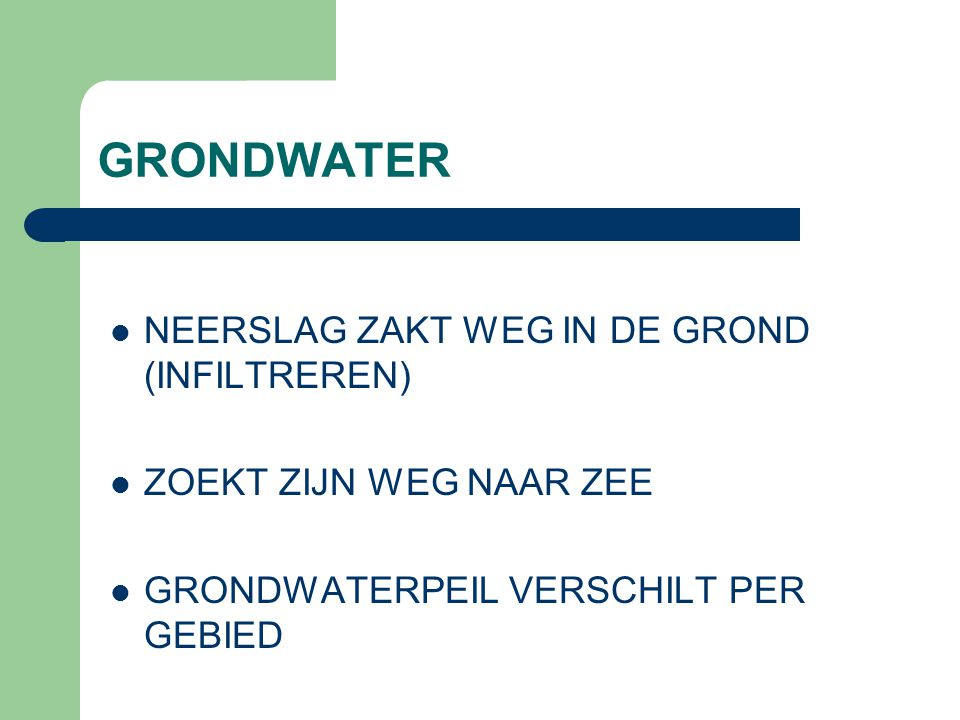GRONDWATER NEERSLAG ZAKT WEG IN DE GROND (INFILTREREN)