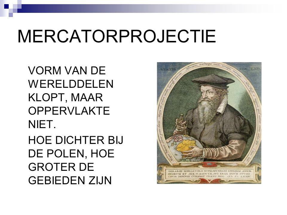 MERCATORPROJECTIE VORM VAN DE WERELDDELEN KLOPT, MAAR OPPERVLAKTE NIET.
