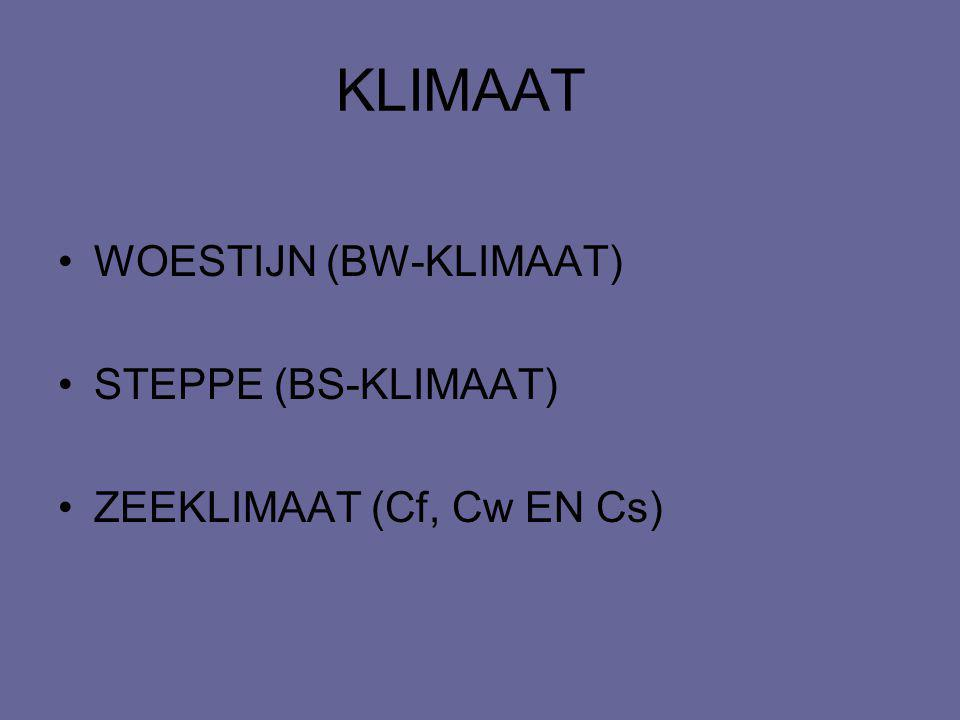 KLIMAAT WOESTIJN (BW-KLIMAAT) STEPPE (BS-KLIMAAT)