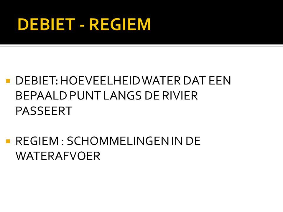 DEBIET - REGIEM DEBIET: HOEVEELHEID WATER DAT EEN BEPAALD PUNT LANGS DE RIVIER PASSEERT.
