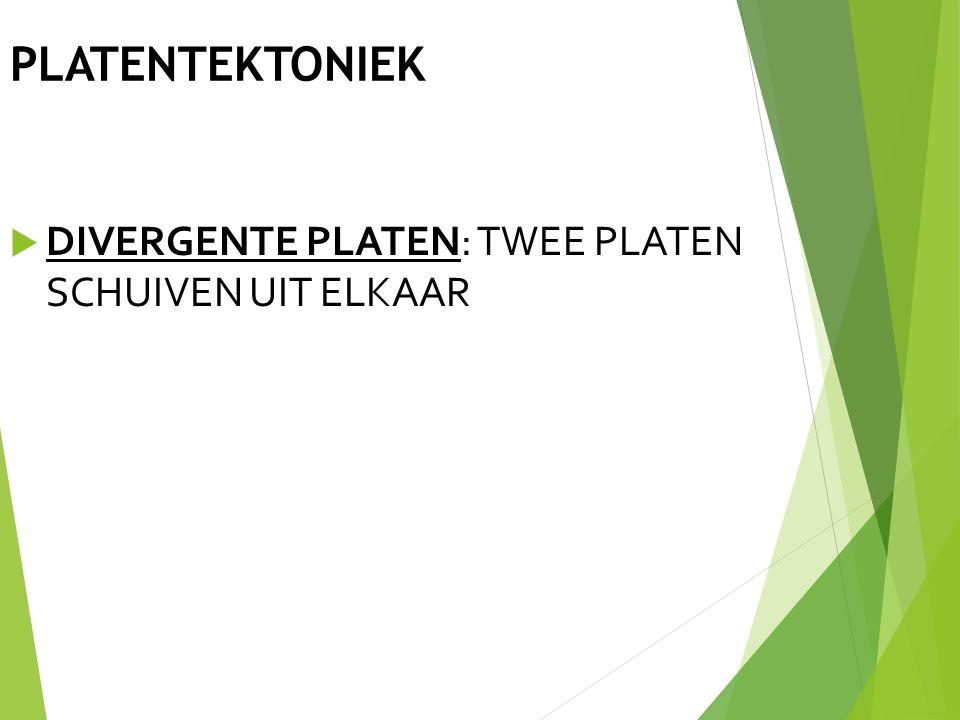 PLATENTEKTONIEK DIVERGENTE PLATEN: TWEE PLATEN SCHUIVEN UIT ELKAAR 11
