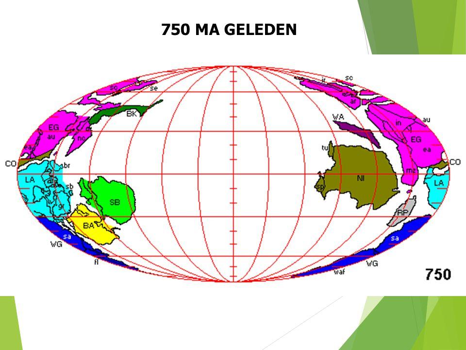 750 MA GELEDEN Paleogeografische situatie 750 Ma geleden (naar S. Dutch). 20