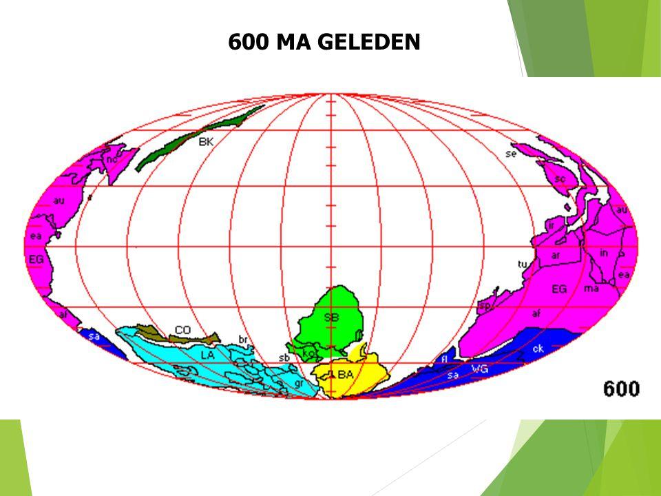 600 MA GELEDEN Paleogeografische situatie 600 Ma geleden (naar S. Dutch). 22