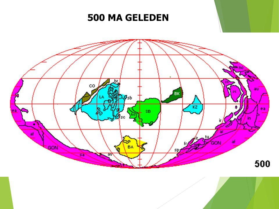 500 MA GELEDEN Paleogeografische situatie 500 Ma geleden (naar S. Dutch). 24