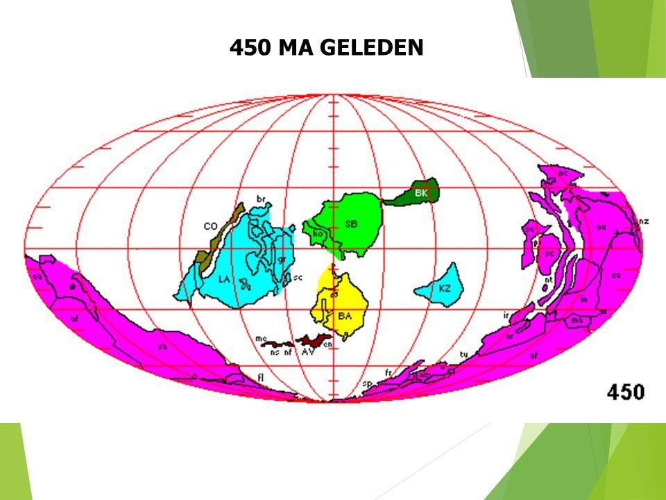 450 MA GELEDEN Paleogeografische situatie 450 Ma geleden (naar S. Dutch). 25