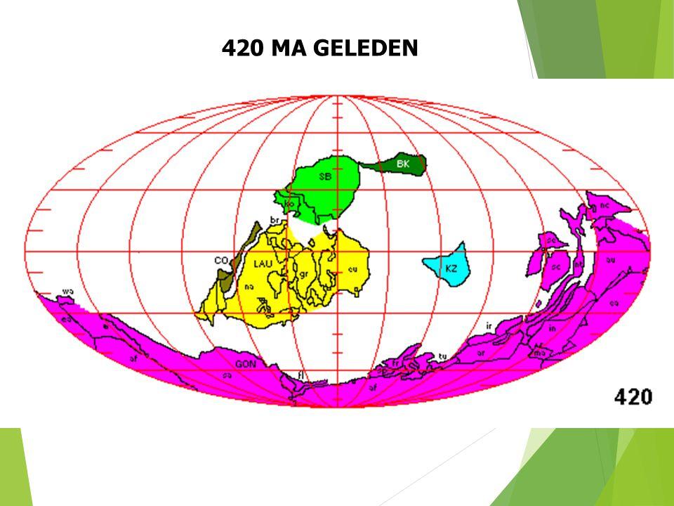 420 MA GELEDEN Paleogeografische situatie 420 Ma geleden (naar S. Dutch). 26