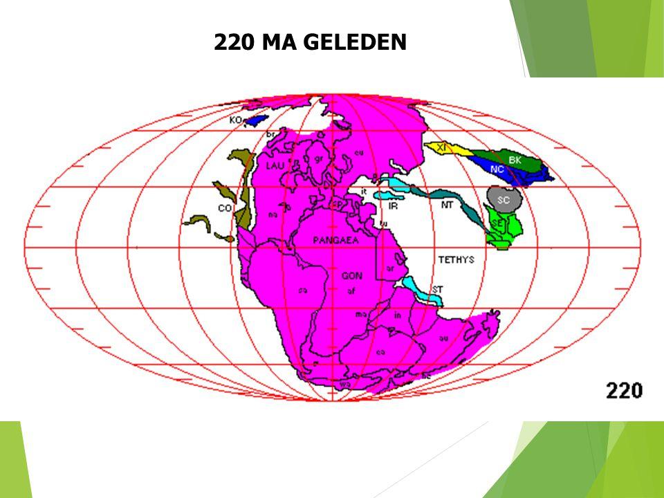 220 MA GELEDEN Paleogeografische situatie 220 Ma geleden (naar S. Dutch). 30