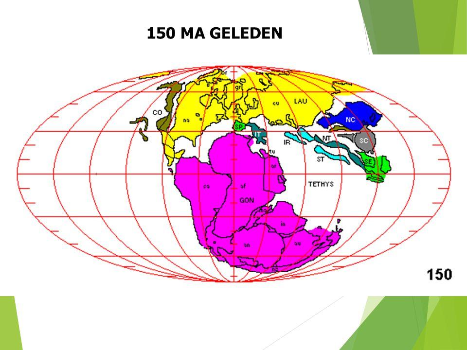 150 MA GELEDEN Paleogeografische situatie 150 Ma geleden (naar S. Dutch). 32