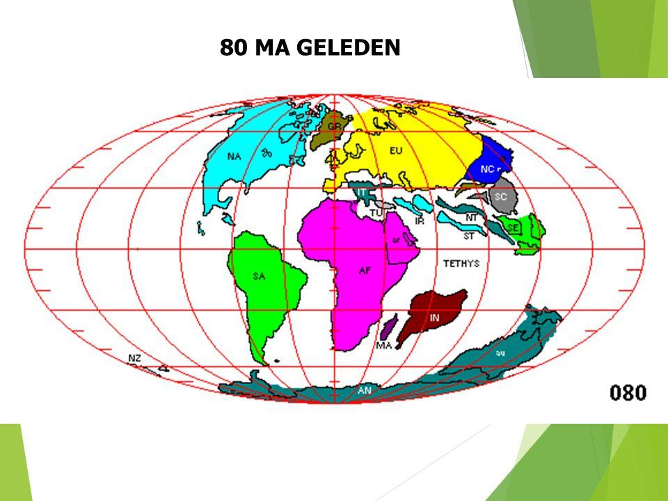 80 MA GELEDEN Paleogeografische situatie 80 Ma geleden (naar S. Dutch). 33