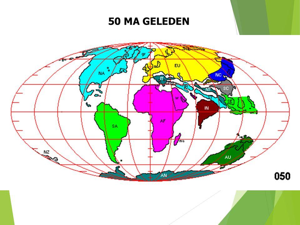 50 MA GELEDEN Paleogeografische situatie 50 Ma geleden (naar S. Dutch). 34