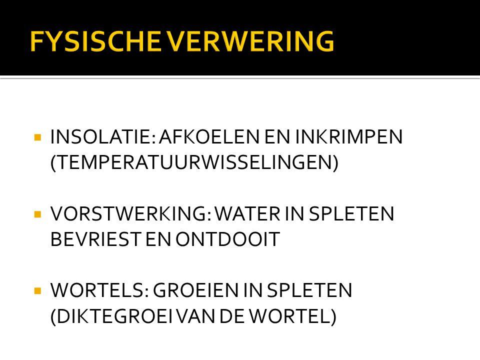 FYSISCHE VERWERING INSOLATIE: AFKOELEN EN INKRIMPEN (TEMPERATUURWISSELINGEN) VORSTWERKING: WATER IN SPLETEN BEVRIEST EN ONTDOOIT.