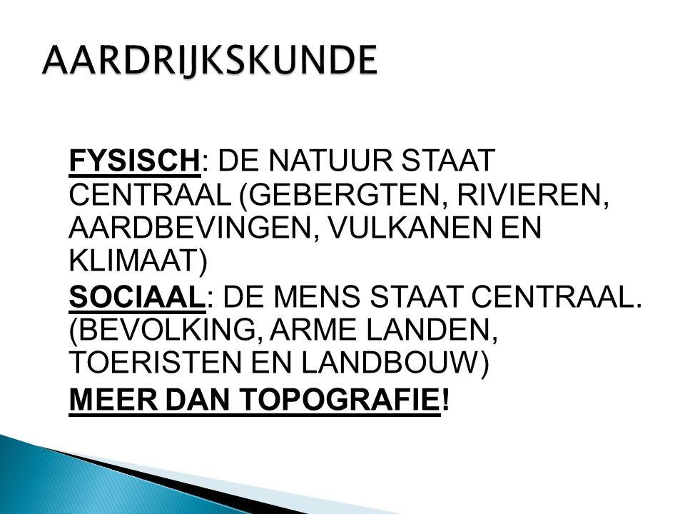 AARDRIJKSKUNDE FYSISCH: DE NATUUR STAAT CENTRAAL (GEBERGTEN, RIVIEREN, AARDBEVINGEN, VULKANEN EN KLIMAAT)