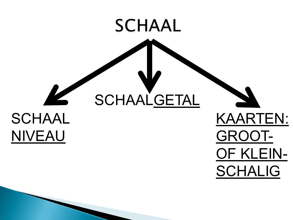 SCHAAL SCHAALGETAL SCHAALNIVEAU KAARTEN: GROOT- OF KLEIN-SCHALIG
