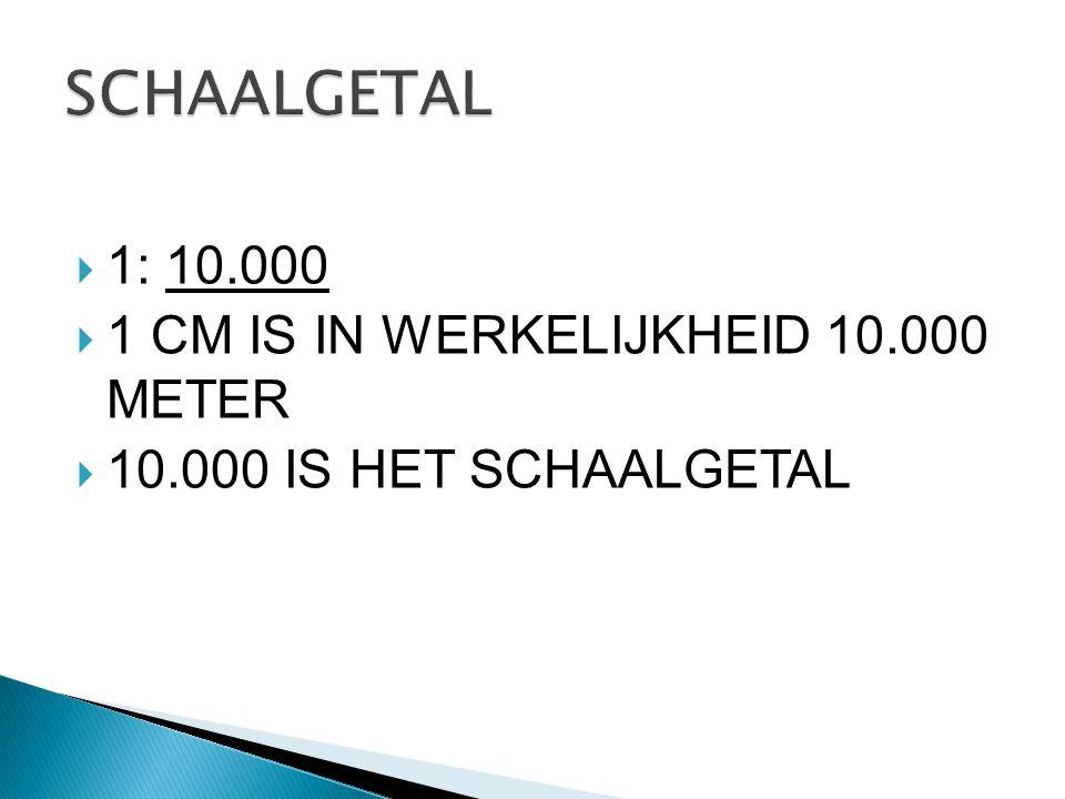 SCHAALGETAL 1: 10.000 1 CM IS IN WERKELIJKHEID 10.000 METER