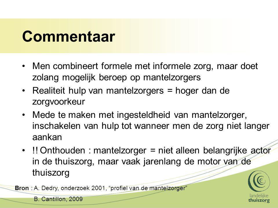 Commentaar Men combineert formele met informele zorg, maar doet zolang mogelijk beroep op mantelzorgers.