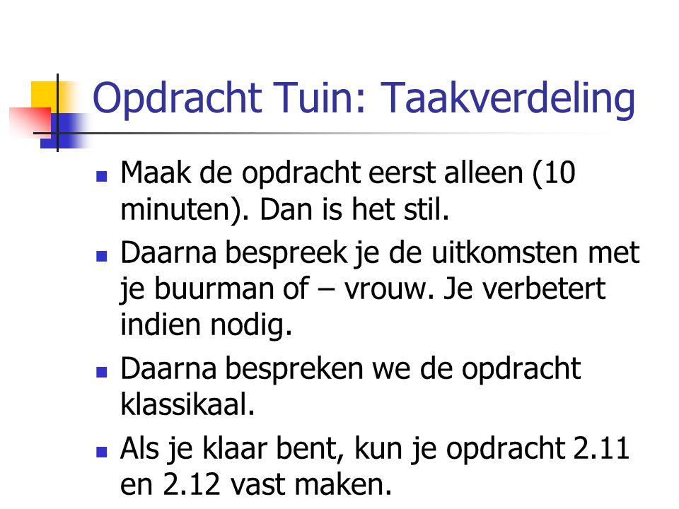 Opdracht Tuin: Taakverdeling
