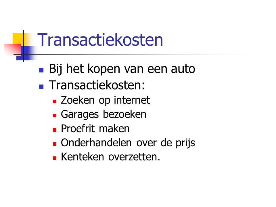 Transactiekosten Bij het kopen van een auto Transactiekosten: