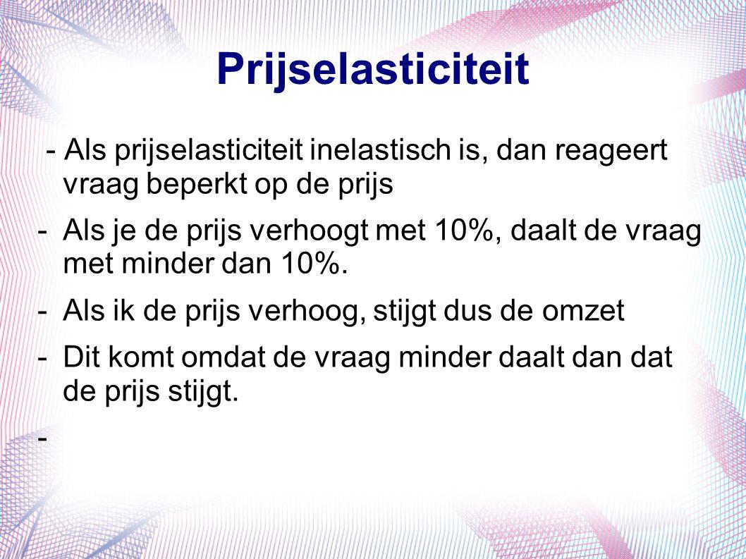 Prijselasticiteit - Als prijselasticiteit inelastisch is, dan reageert vraag beperkt op de prijs.