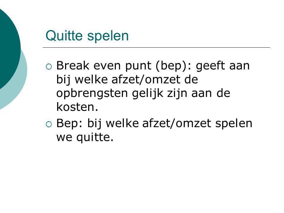 Quitte spelen Break even punt (bep): geeft aan bij welke afzet/omzet de opbrengsten gelijk zijn aan de kosten.