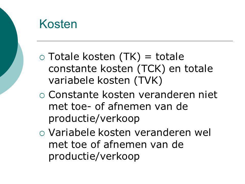 Kosten Totale kosten (TK) = totale constante kosten (TCK) en totale variabele kosten (TVK)