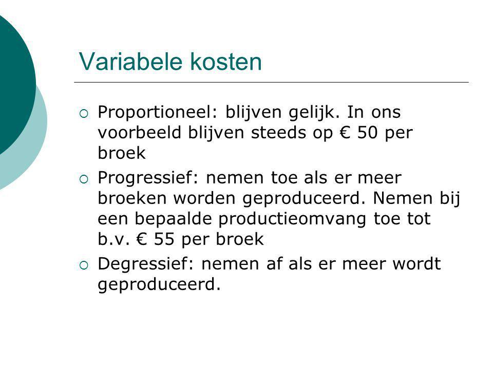Variabele kosten Proportioneel: blijven gelijk. In ons voorbeeld blijven steeds op € 50 per broek.