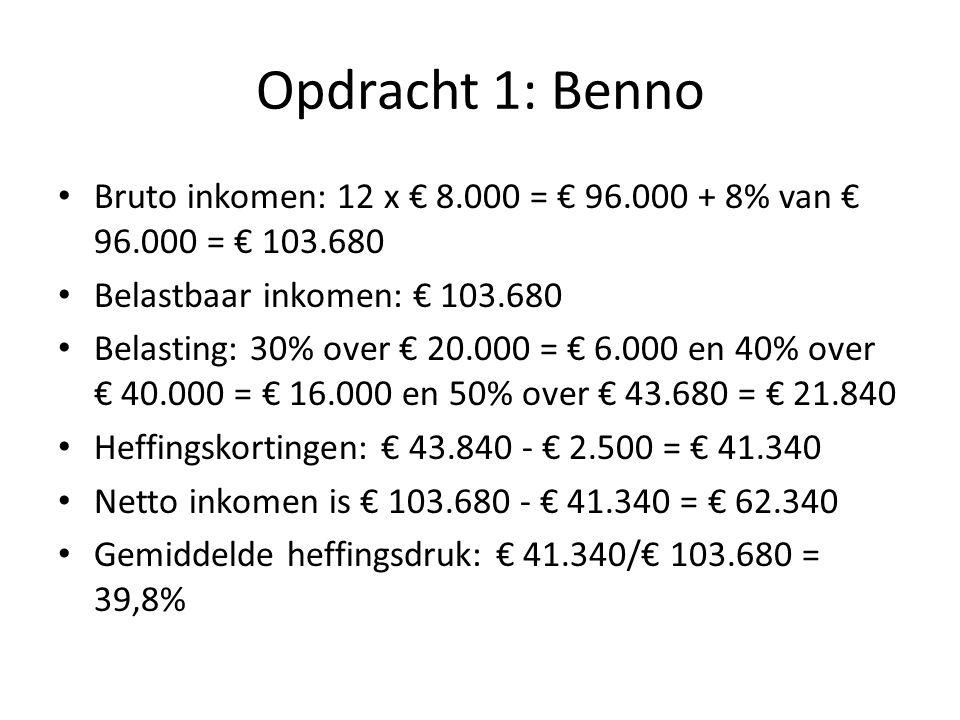 Opdracht 1: Benno Bruto inkomen: 12 x € 8.000 = € 96.000 + 8% van € 96.000 = € 103.680. Belastbaar inkomen: € 103.680.