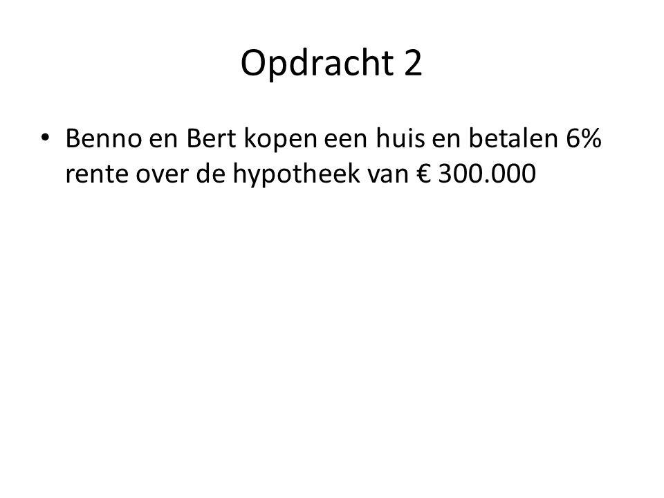 Opdracht 2 Benno en Bert kopen een huis en betalen 6% rente over de hypotheek van € 300.000