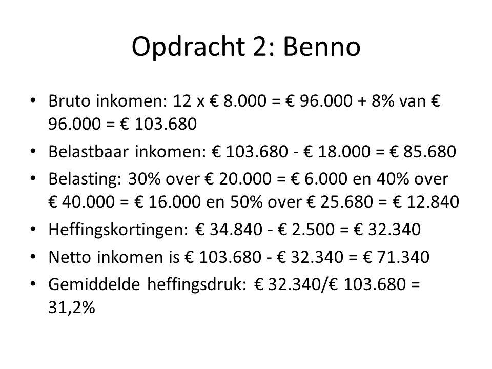 Opdracht 2: Benno Bruto inkomen: 12 x € 8.000 = € 96.000 + 8% van € 96.000 = € 103.680. Belastbaar inkomen: € 103.680 - € 18.000 = € 85.680.