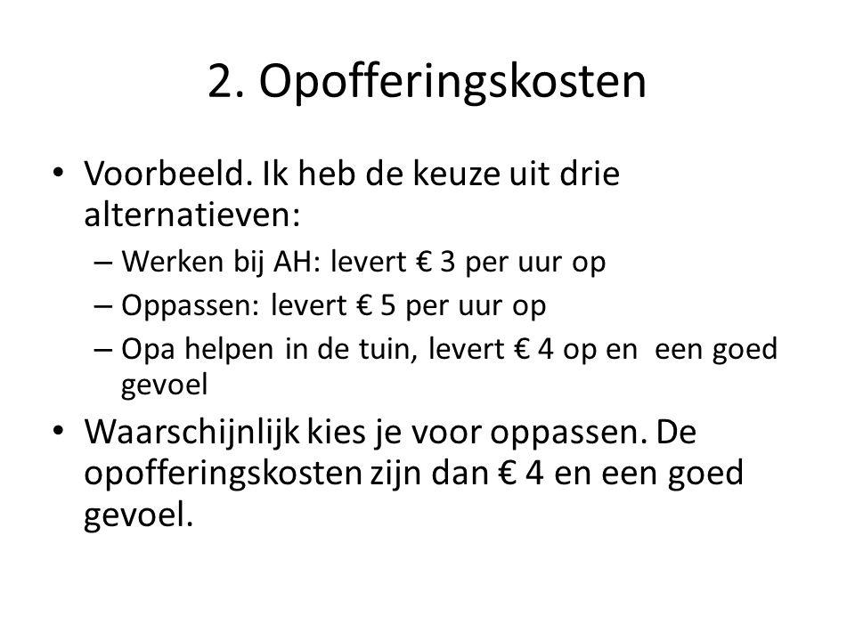 2. Opofferingskosten Voorbeeld. Ik heb de keuze uit drie alternatieven: Werken bij AH: levert € 3 per uur op.