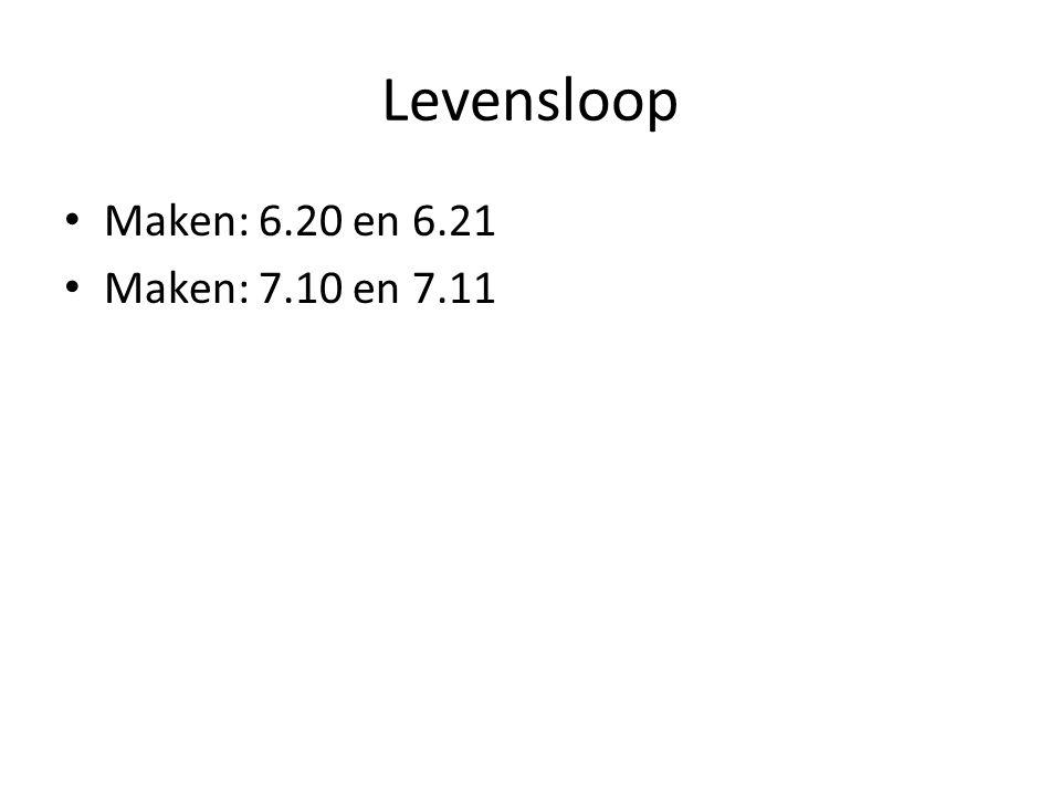 Levensloop Maken: 6.20 en 6.21 Maken: 7.10 en 7.11