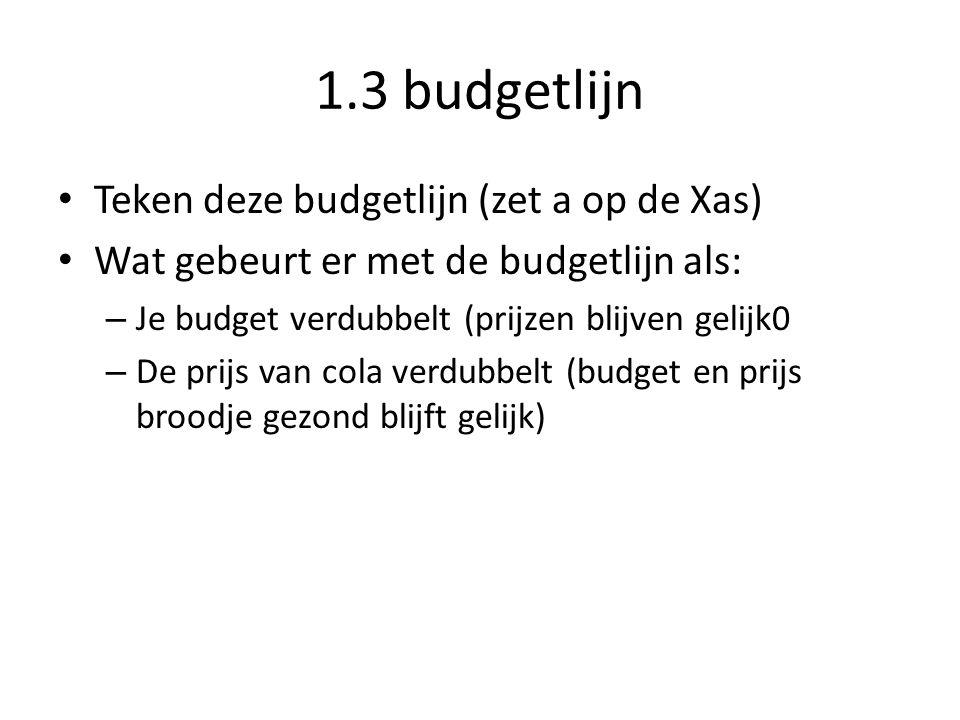 1.3 budgetlijn Teken deze budgetlijn (zet a op de Xas)