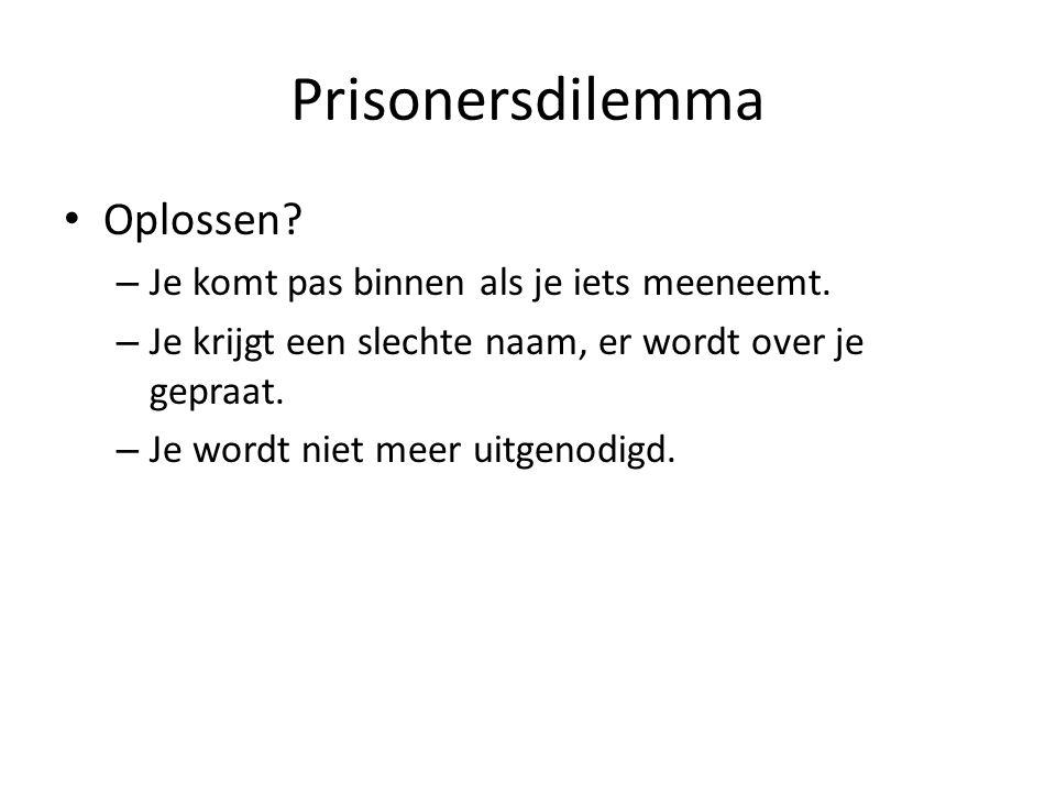 Prisonersdilemma Oplossen Je komt pas binnen als je iets meeneemt.