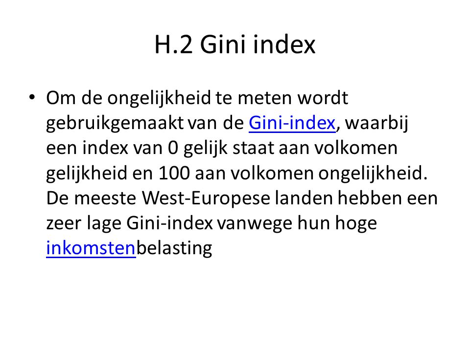 H.2 Gini index